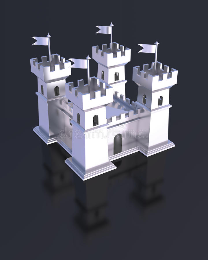 Fortress miniature silver castle isolated. Miniature 3D silver fortress with flag battlement tower defensive wall. Castle with four towers vector illustration