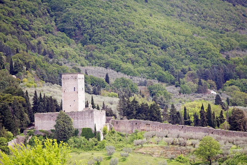 Fortress Minor, Assisi, Italy. The Rocca Maggiore joins, trought the 14th century walls, with its fortress Minor. Rocca Maggiore dominated by more than eight royalty free stock image