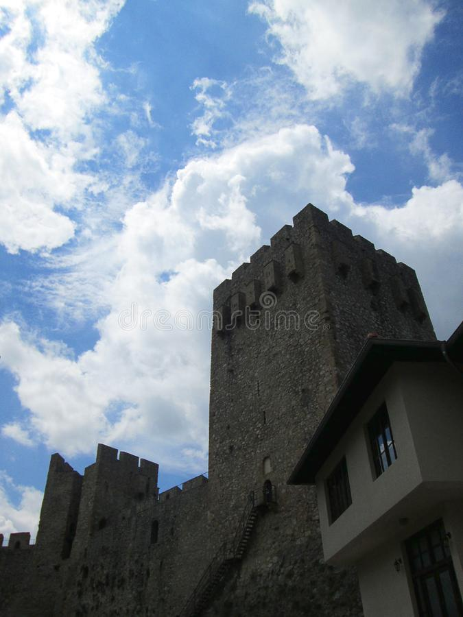 Fortress of Monastery Manasija in Despotovac, Serbia. Despotovac, Serbia - July 19, 2018: Fortress of Monastery Manasija in Despotovac, Serbia royalty free stock photos