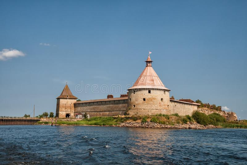 Oreshek Fortress. Fortress Oreshek - ancient Russian fortress on Nut Island in source of the Neva River, Leningrad region, Russia royalty free stock image