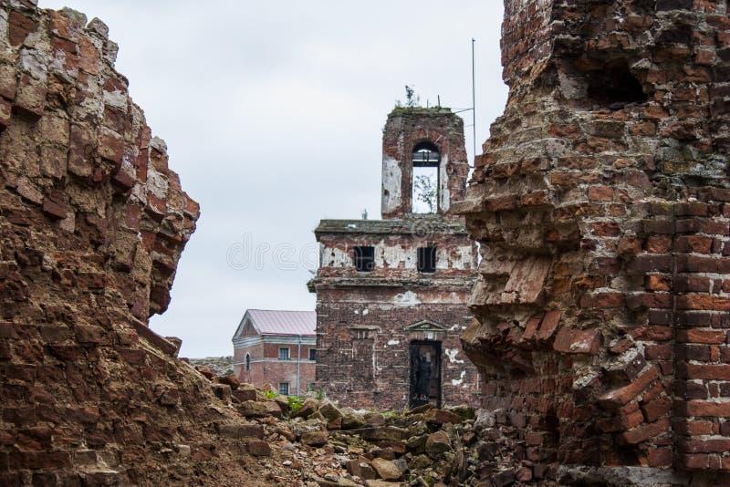 Fortress Oreshek Shlisselburg. Destroyed walls of red brick of the ancient fortress of Oreshek Shlisselburg stock photos