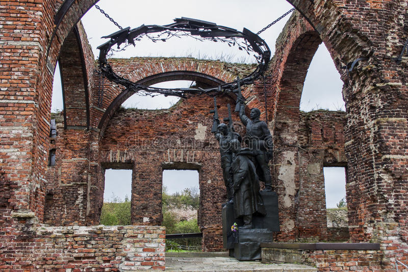 Fortress Oreshek Shlisselburg. Destroyed walls of red brick of the ancient fortress of Oreshek Shlisselburg stock photography