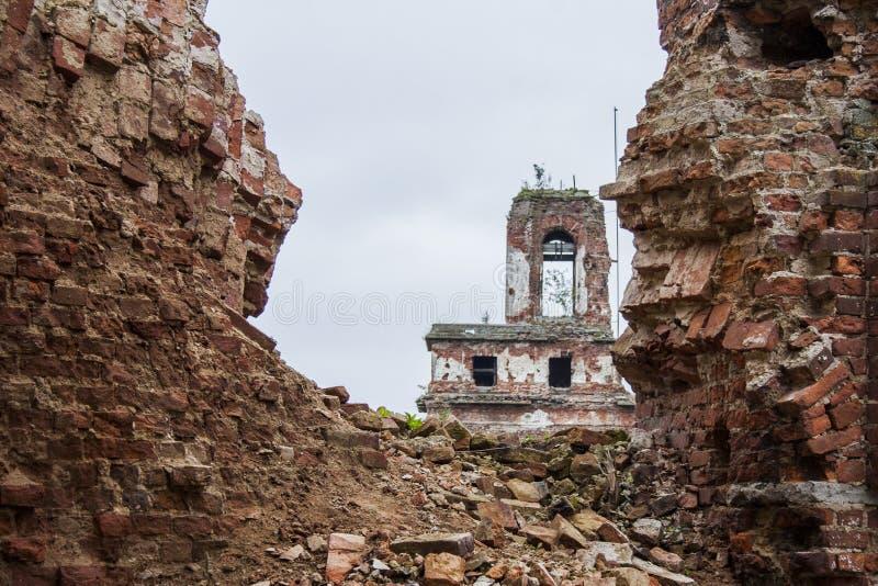 Fortress Oreshek Shlisselburg. Destroyed walls of red brick of the ancient fortress of Oreshek Shlisselburg stock photo