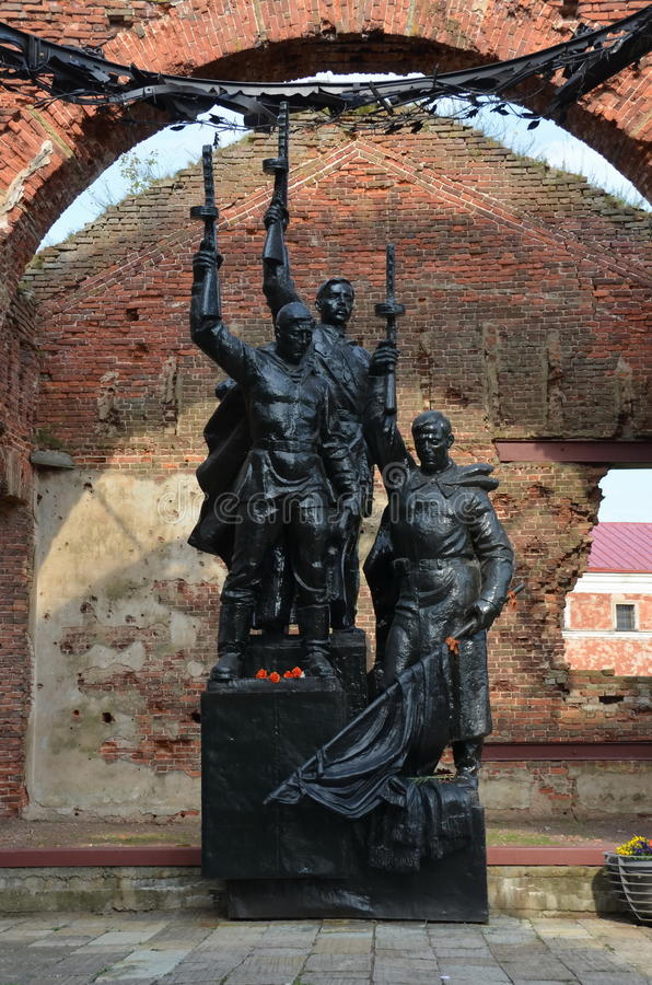Fortress Oreshek. SHLISSELBURG, RUSSIA - AUGUST 6, 2015 - World War II Memorial at the Cathedral of St. John the Baptist in the fortress Oreshek, Shlisselburg royalty free stock images