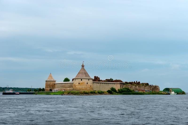 Fortress Oreshek in the source of the Neva River stock photo