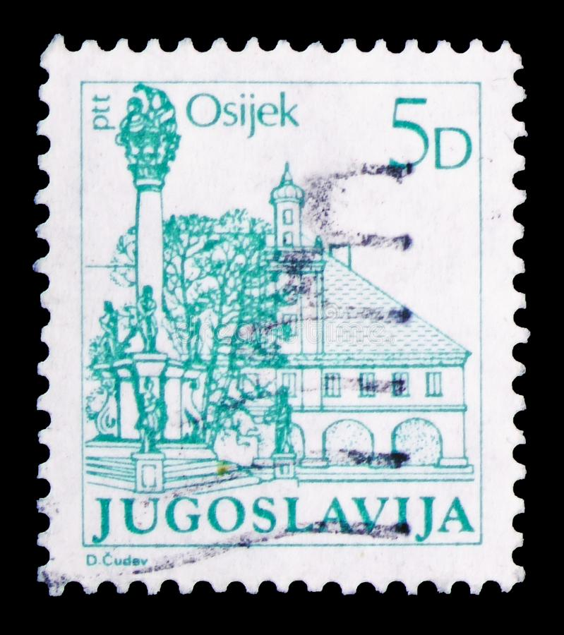 Fortress and pillar vow, Osijek, Tourism-Definitive Small serie, circa 1983. MOSCOW, RUSSIA - FEBRUARY 10, 2019: A stamp printed in Yugoslavia shows Fortress and royalty free stock photo