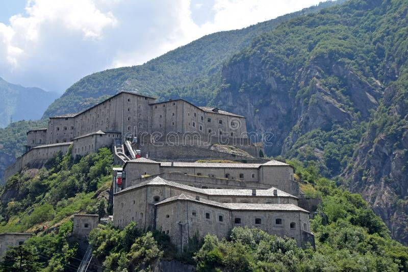 The fortress-prison of the village of Bard in Aosta Valley in Italy royalty free stock photography