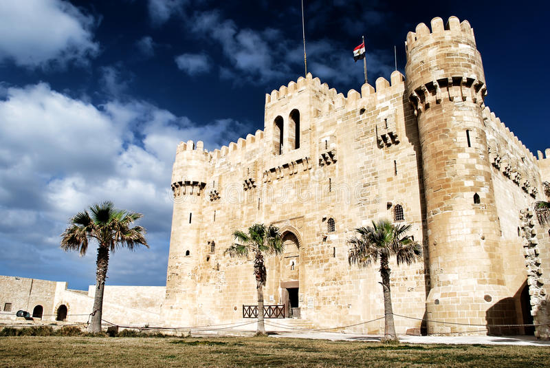 Fortress Qaitbey. The historic fortress Qaitbey in Alexandria Egypt stock photo