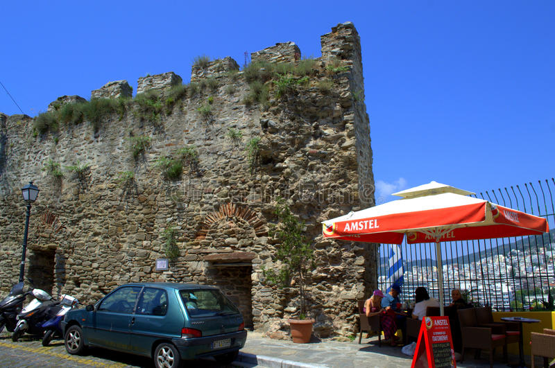 Fortress and restaurant at Kavala street stock photos
