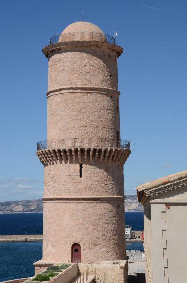 Free Fortress Round Tower - Mediterranean Port City Stock Photography - 115329952