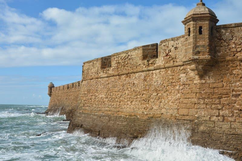 The fortress San Sebastian Castillo de San Sebastian in Cadiz stock photography