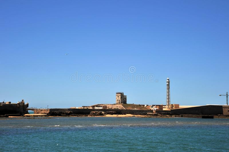 Fortress of San Sebastian on the shores of the ancient maritime city of Cadiz. stock images