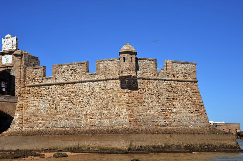 Fortress of San Sebastian on the shores of the ancient maritime city of Cadiz. royalty free stock photography
