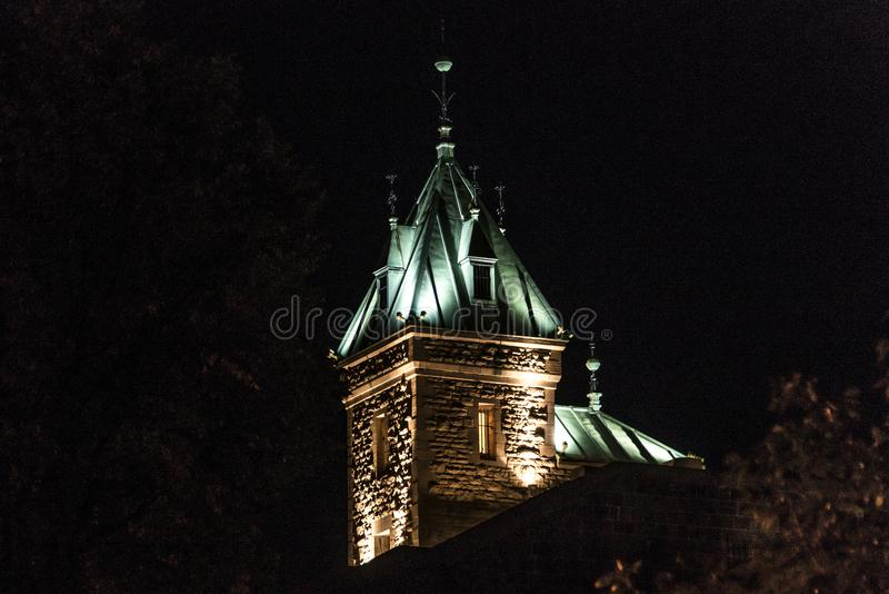 Fortress scene at illuminated tower roof at night the city protection wall of quebec city canada. Fortress scene at illuminated tower roof at night of the city royalty free stock images