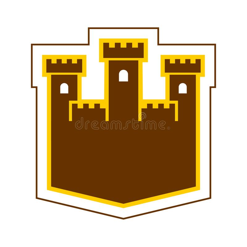 Fortress sign logo. Castle Tower symbol. Old outpost icon.  stock illustration