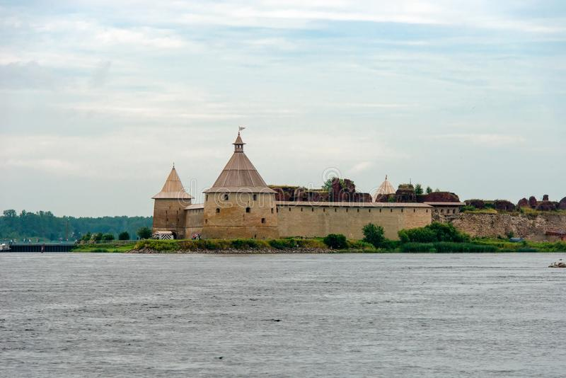 Fortress Oreshek. Fortress in the source of the Neva River, Russia, Shlisselburg: Fortress Oreshek. Medieval Russian defensive structure and political prison stock images