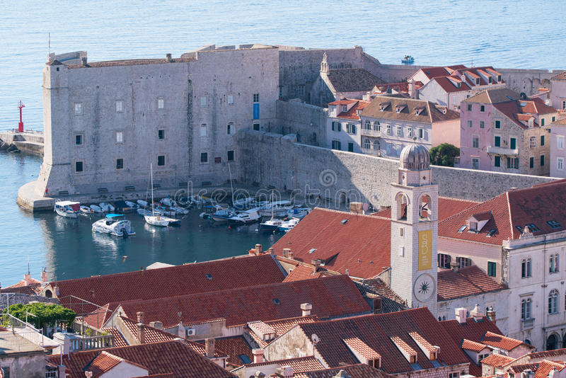 Fortress of St. Ivan and the marina in the old Dubrovnik royalty free stock image