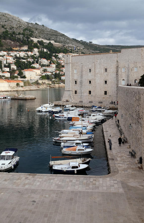 Fortress of St. John and the marina in the old Dubrovnik royalty free stock photo