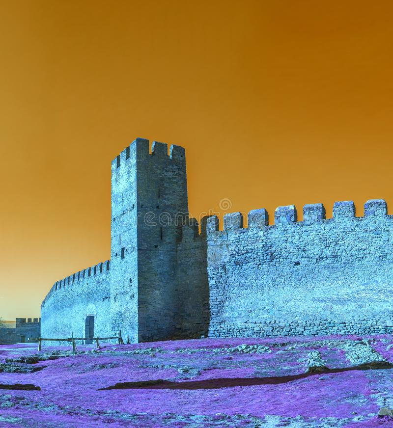 Fortress Tower of the Akkerman Citadel. Fortress walls and tower from the inside of the Akkerman Citadel in Ukraine royalty free stock images