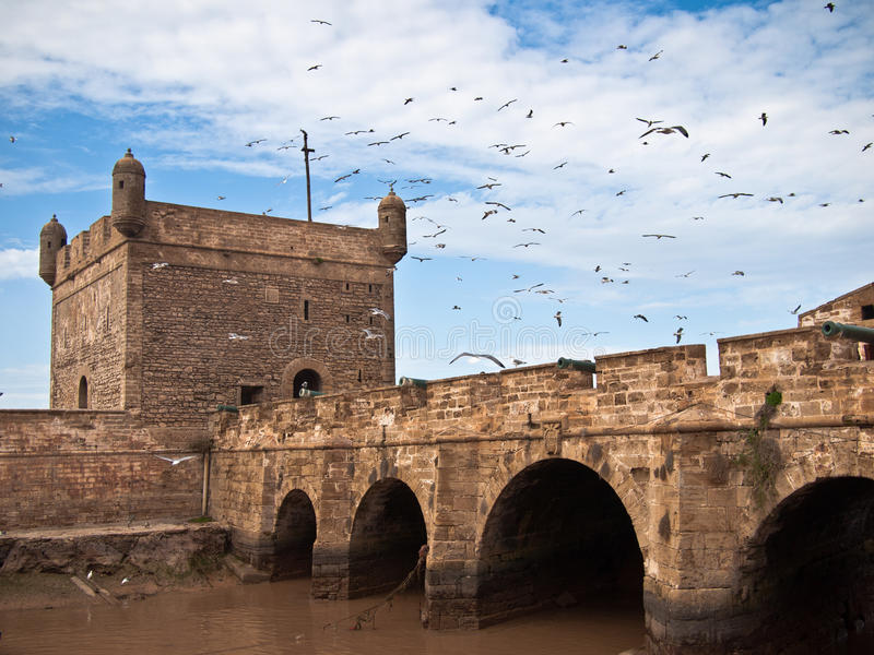 Fortress tower with a bridge royalty free stock image