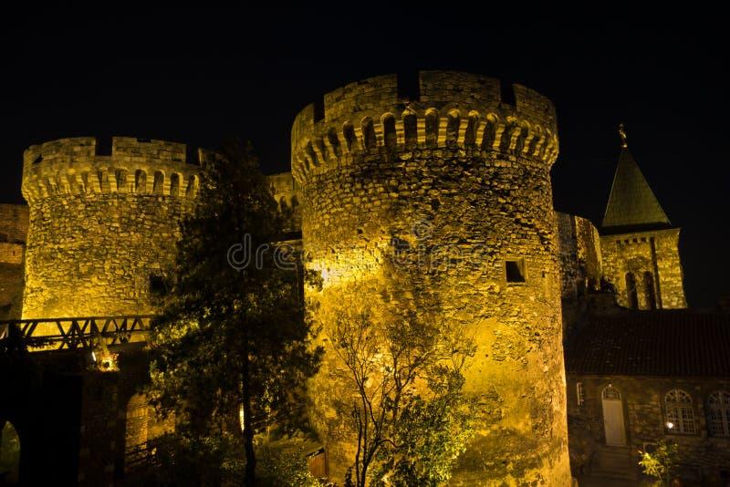 Fortress tower, gate and wooden bridge at night, Kalemegdan, Belgrade royalty free stock photo