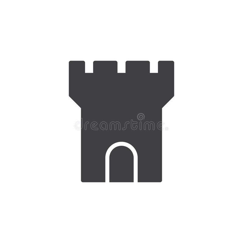 Fortress tower icon vector, filled flat sign, solid pictogram isolated on white. Symbol, logo illustration. Pixel perfect stock illustration