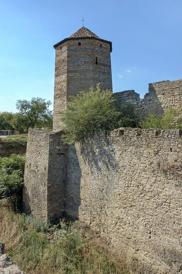 Fortress tower of the medieval ackerman fortress. Belgorod Dnestrovsky, Odessa region, Ukraine royalty free stock image
