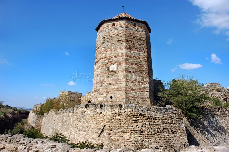 Fortress tower of the medieval ackerman fortress. Belgorod Dnestrovsky, Odessa region, Ukraine stock images