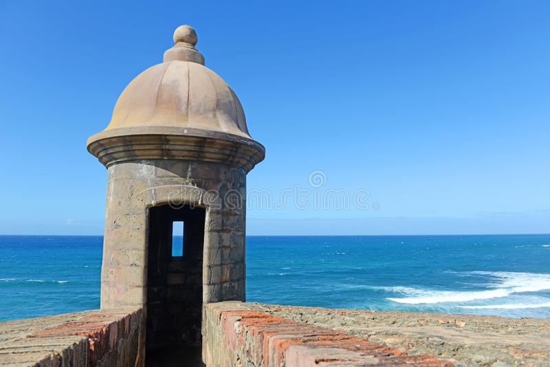 Fortress tower in Old San Juan Puerto Rico. With blue sky royalty free stock image