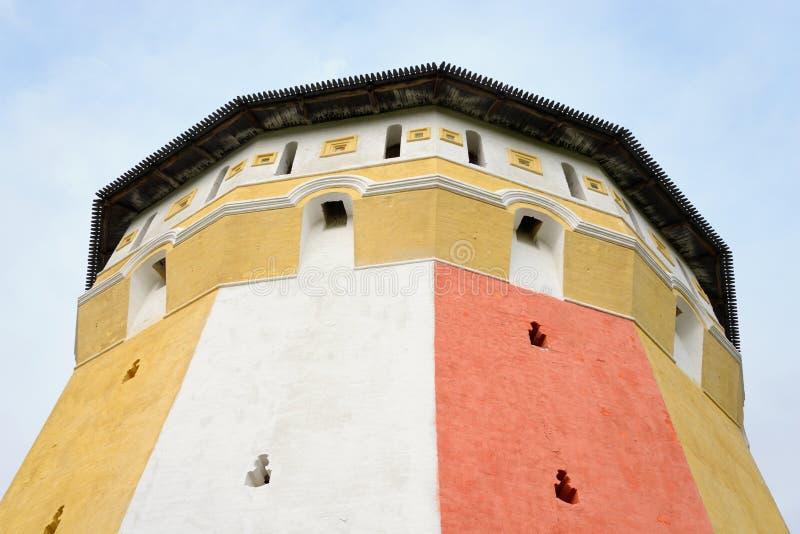 Fortress tower of Saviour Priluki Monastery. Fortress tower of of Saviour Priluki Monastery by cloud day near Vologda, Russia stock photography