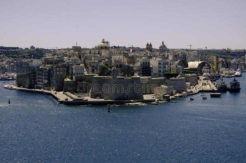Fortress at Valletta Grand Harbour stock photography