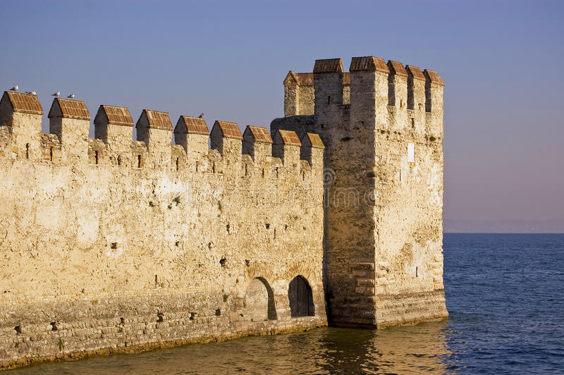 The fortress wall. The fortification on the Garda's lake, Sirmione, Italy stock photos