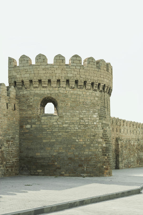 fortress wall around the old city of Baku, Azerbaijan stock photography
