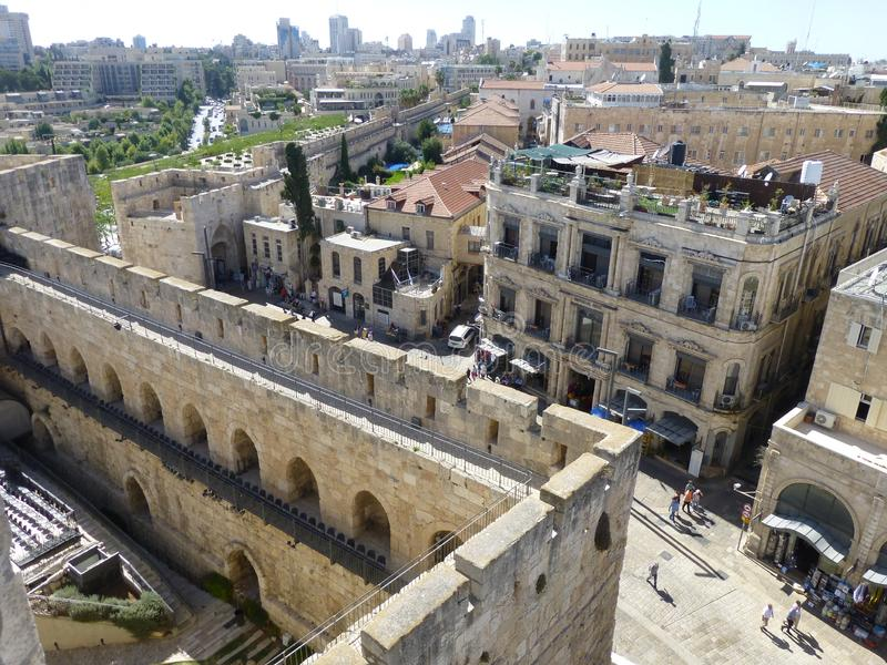Fortress and exit from the old city through Jaffa Gatein, Jerusalem stock images