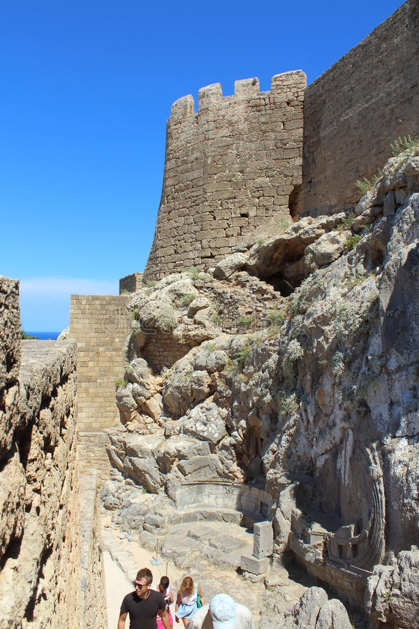 Fortress wall of Lindos stock photo