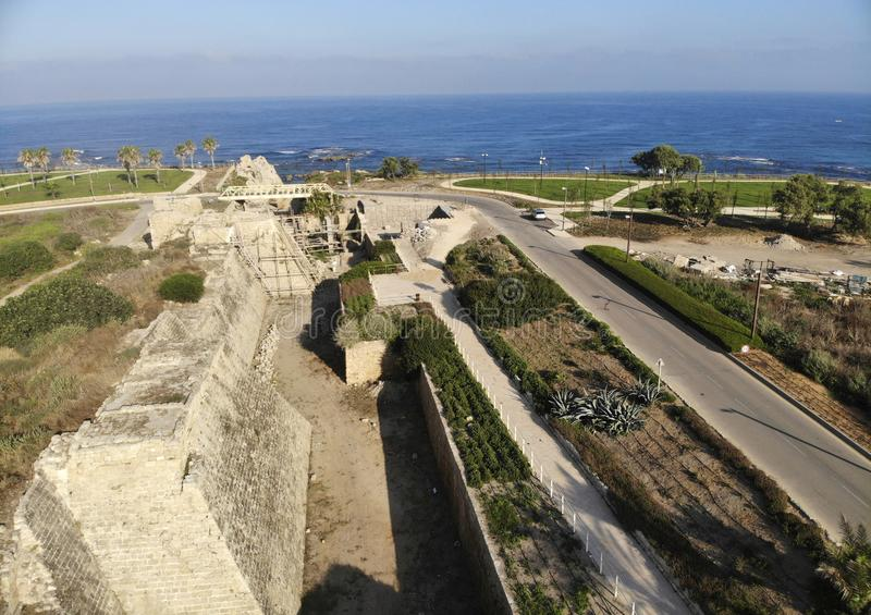 Fortress wall National Park Caesarea. Fortress wall in National archaeological park of antiquities in the Caesarea stock image