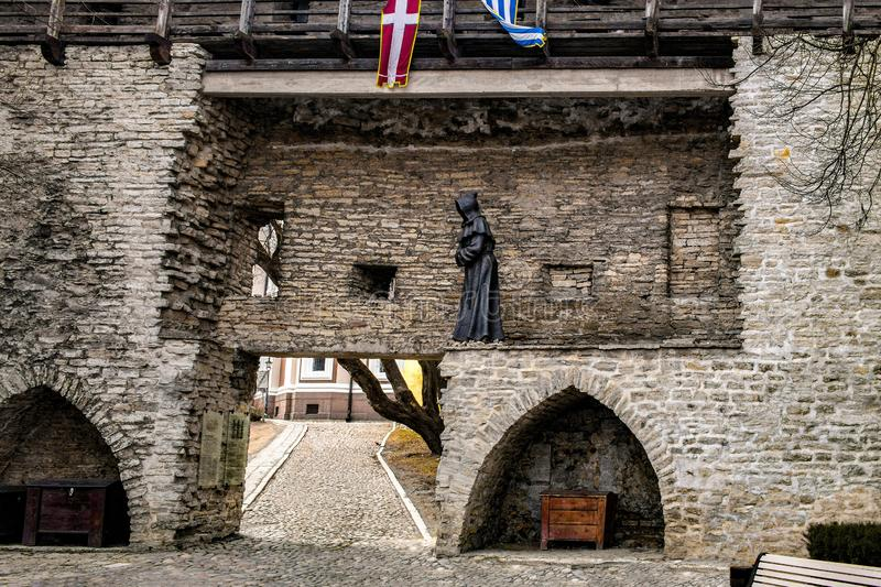 A fortress wall is in Tallin, Estonia royalty free stock images