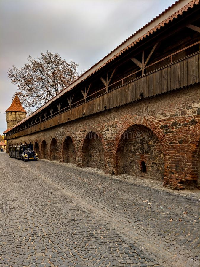 Fortress Wall - Zidul Cetatii street from old town Sibiu, Romania royalty free stock image