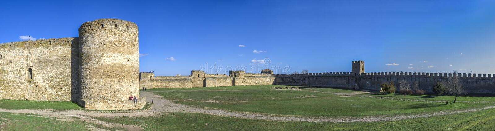 Fortress Walls of the Akkerman Citadel in Ukraine. Akkerman, Ukraine - 03.23.2019. Panoramic view of the Fortress walls and towers from the inside of the stock images