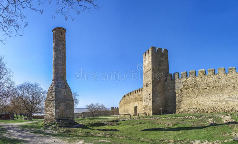 Fortress Walls of the Akkerman Citadel in Ukraine. Akkerman, Ukraine - 03.23.2019. Panoramic view of the Fortress walls and towers from the inside of the stock photos