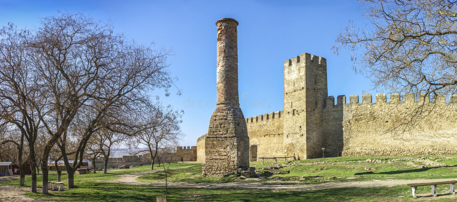 Fortress Walls of the Akkerman Citadel in Ukraine. Akkerman, Ukraine - 03.23.2019. Panoramic view of the Fortress walls and towers from the inside of the royalty free stock photo