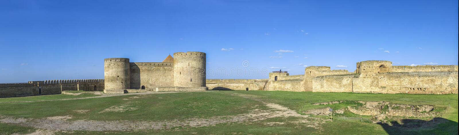 Fortress Walls of the Akkerman Citadel in Ukraine. Akkerman, Ukraine - 03.23.2019. Panoramic view of the Fortress walls and towers from the inside of the royalty free stock image