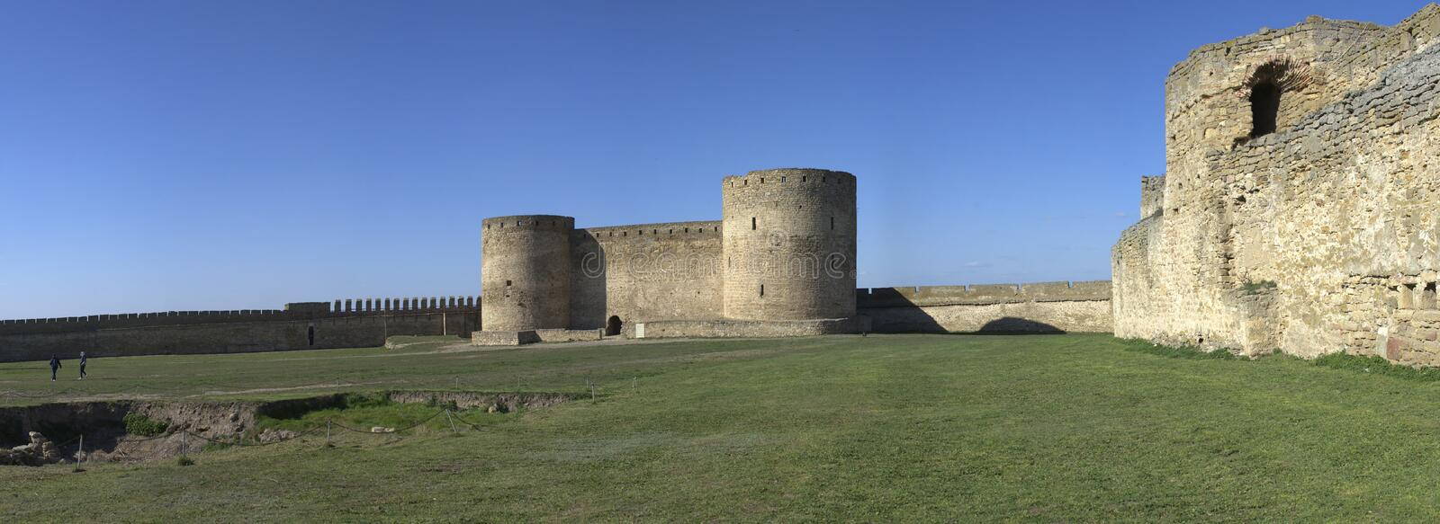 Fortress Walls of the Akkerman Citadel in Ukraine. Akkerman, Ukraine - 03.23.2019. Panoramic view of the Fortress walls and towers from the inside of the royalty free stock photography