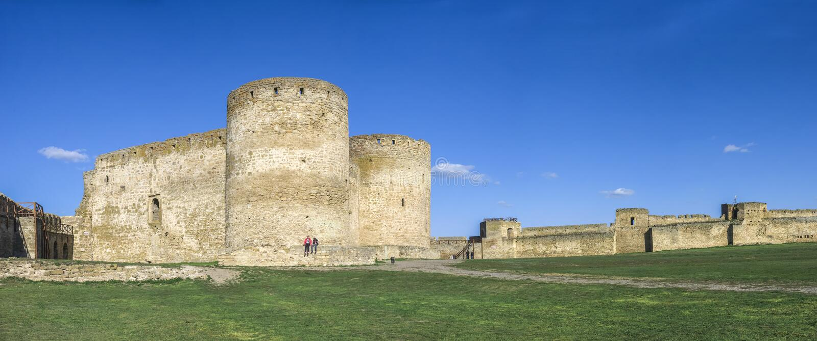 Fortress Walls of the Akkerman Citadel in Ukraine. Akkerman, Ukraine - 03.23.2019. Panoramic view of the Fortress walls and towers from the inside of the royalty free stock images