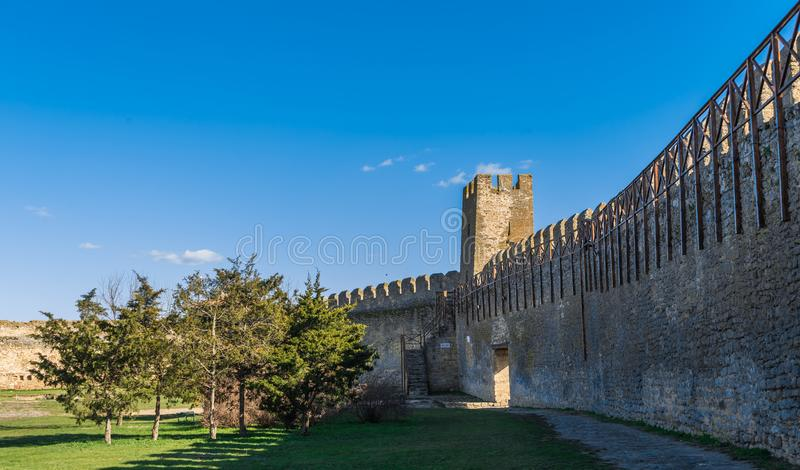 Fortress Walls of the Akkerman Citadel in Ukraine. Akkerman, Ukraine - 03.23.2019. Panoramic view of the Fortress walls and towers from the inside of the royalty free stock photos