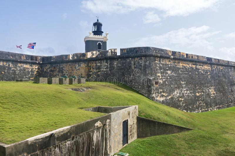 El Morro Fortress Walls and Lighthouse. Fortress walls and lighthouse of landmark citadel el morro in old san juan puerto rico stock photography