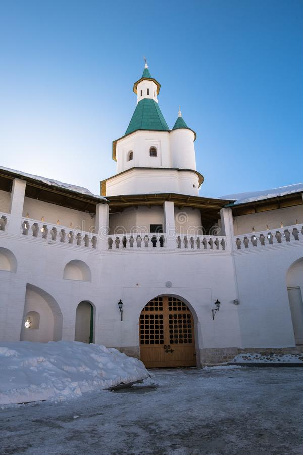 The fortress walls with towers around the New Jerusalem Monastery of the 17th century. Istra, Moscow suburbs, Russia. The New Jerusalem Monastery is a male royalty free stock photo
