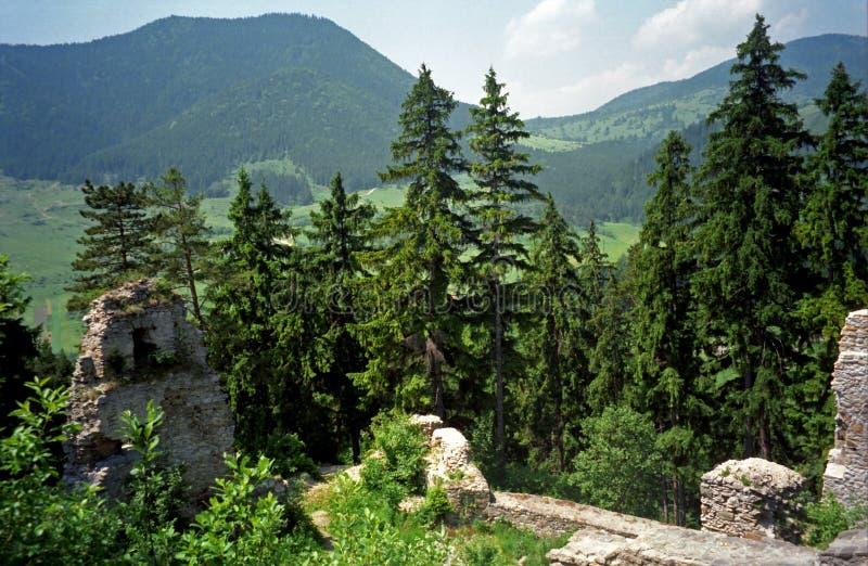 Fortruïnes, Likava, Slowakije royalty-vrije stock afbeelding