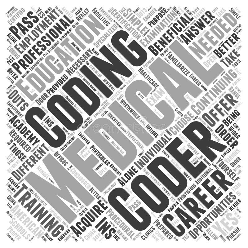 Fortsätter utbildningsgodkännandet för medicinsk kodifiera bakgrund för vektor för begrepp för karriärordmoln royaltyfri fotografi