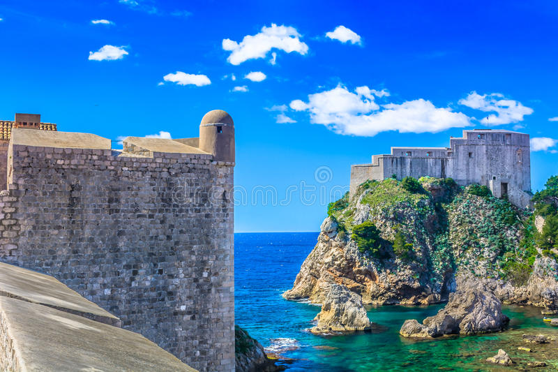 Forts in Dubrovnik, Croatia. Picturesque historic view at forts in Dubrovnik town with Adriatic Sea in background, Croatia royalty free stock photos